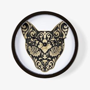 Gold and black mystic cat Wall Clock