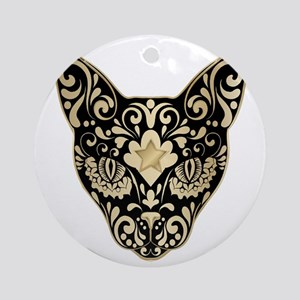Gold and black mystic cat Round Ornament