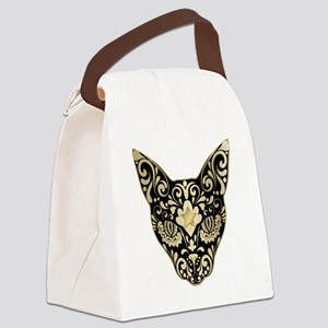 Gold and black mystic cat Canvas Lunch Bag