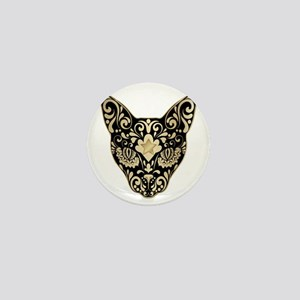 Gold and black mystic cat Mini Button