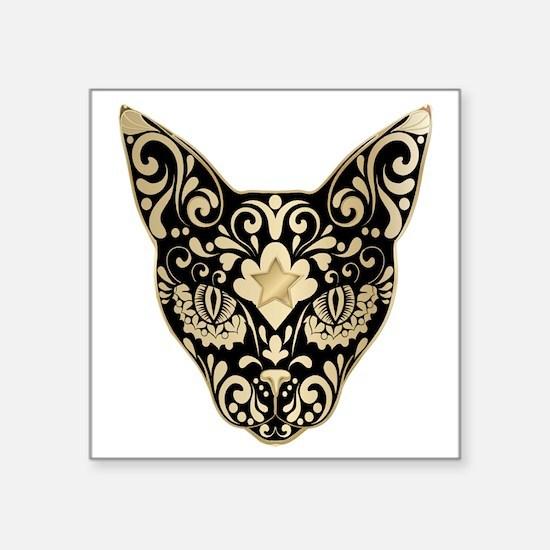 "Gold and black mystic cat Square Sticker 3"" x 3"""