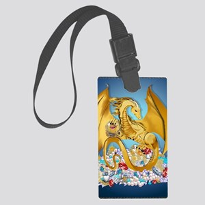 2-BigGoldDragonwithGlobe PosterP Large Luggage Tag