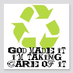 "God made it Square Car Magnet 3"" x 3"""