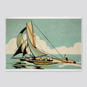 Sailboat,Japan, Vintage Art Poster 5'x7'Area Rug