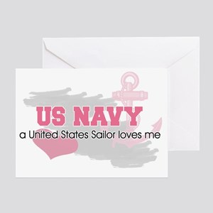 US Sailor loves me Greeting Card