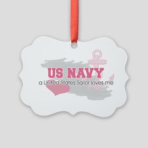 US Sailor loves me Picture Ornament