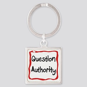 Question Authority Square Keychain