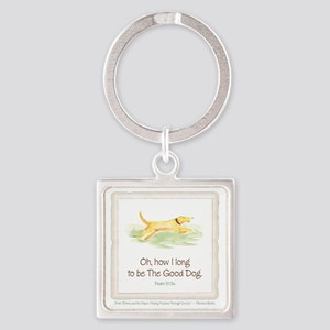 Good Dog-no green Square Keychain