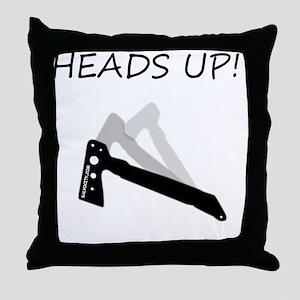 TomahawkBlackHeadsUPcentered Throw Pillow