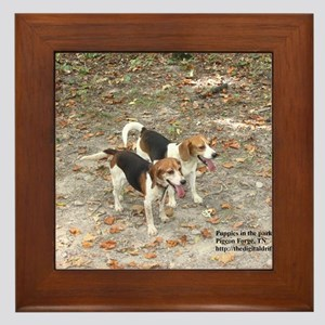 Puppies in the park Framed Tile