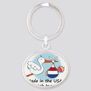 stork baby nether 2 Oval Keychain