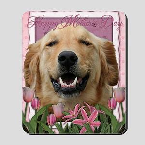 PinkTulips_Golden_Retriever Mousepad