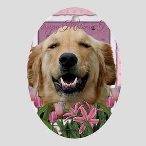 PinkTulips_Golden_Retriever Oval Ornament