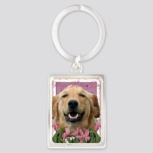 PinkTulips_Golden_Retriever Portrait Keychain