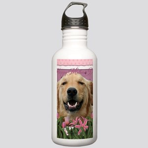 PinkTulips_Golden_Retr Stainless Water Bottle 1.0L