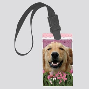 PinkTulips_Golden_Retriever Large Luggage Tag