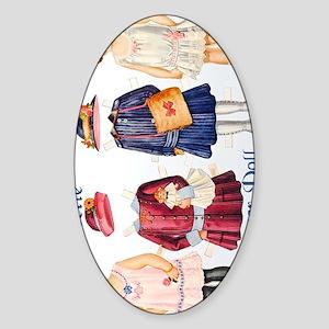 babbette-paper-doll Sticker (Oval)