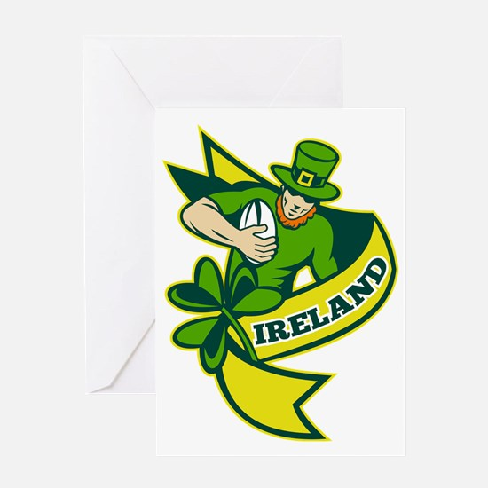 Irish rugby player leprechaun hat sh Greeting Card