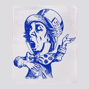 Mad Hatter Blue Throw Blanket
