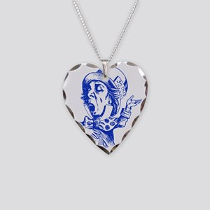 Mad Hatter Blue Necklace Heart Charm