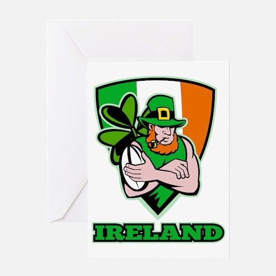 Irish leprechaun rugby player shield Greeting Card