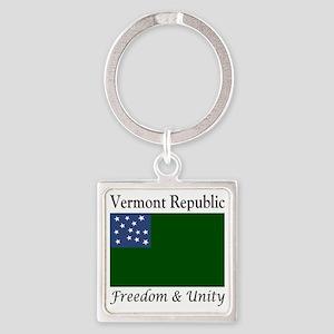 Vermont Republic Freedom & Uni Square Keychain