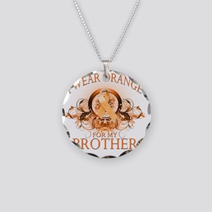 I Wear Orange for my Brother Necklace Circle Charm