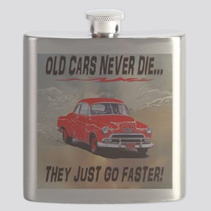 OLD CARS NEVER DIE, RED AND WORDS UNDERLINE Flask