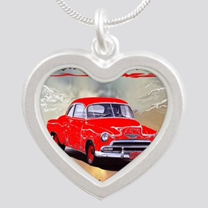 OLD CARS NEVER DIE, RED AND  Silver Heart Necklace