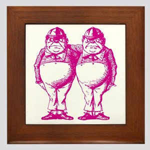 Tweedle Dee and Tweedle Dum Pink Framed Tile