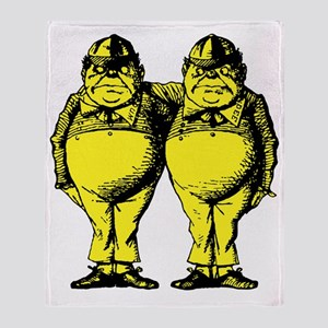 Tweedle Dee and Tweedle Dum Yellow Throw Blanket