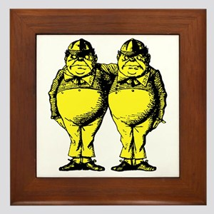 Tweedle Dee and Tweedle Dum Yellow Framed Tile