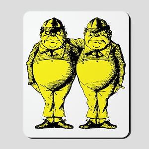 Tweedle Dee and Tweedle Dum Yellow Mousepad