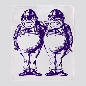 Tweedle Dee and Tweedle Dum Purple Throw Blanket