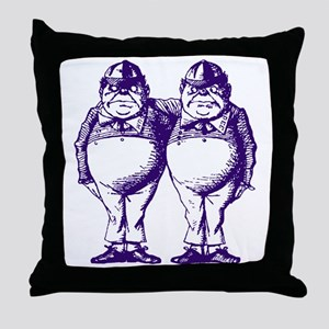 Tweedle Dee and Tweedle Dum Purple Throw Pillow