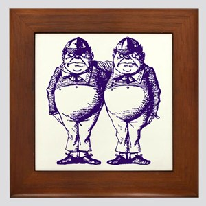 Tweedle Dee and Tweedle Dum Purple Framed Tile
