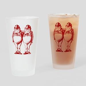 Tweedle Dee and Tweedle Dum Red Drinking Glass