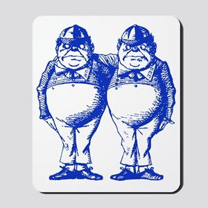 Tweedle Dee and Tweedle Dum Blue Mousepad