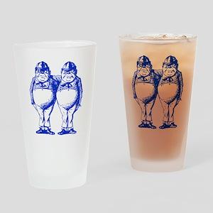 Tweedle Dee and Tweedle Dum Blue Drinking Glass