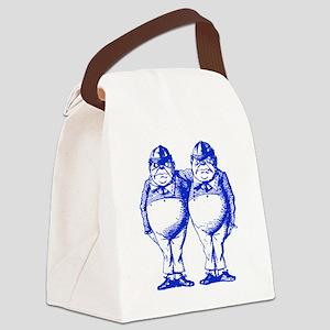 Tweedle Dee and Tweedle Dum Blue Canvas Lunch Bag