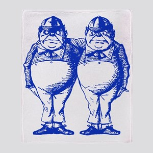 Tweedle Dee and Tweedle Dum Blue Throw Blanket