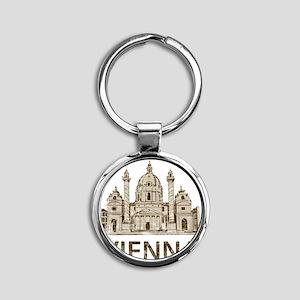 vienna_bk Round Keychain