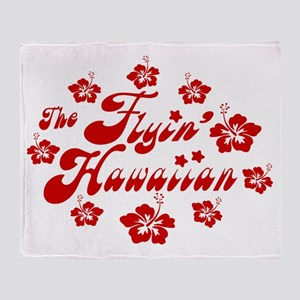 2010 FH Hibiscus Red Wht Strk Throw Blanket
