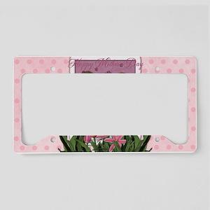 PinkTulips_Boxer_5x3 License Plate Holder