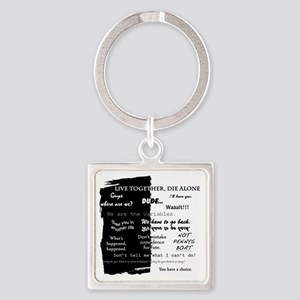 best lines lost text only Square Keychain