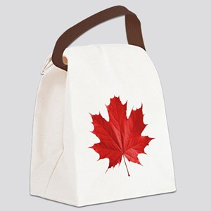red maple leaf t-shirt Canvas Lunch Bag