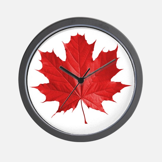 red maple leaf t-shirt Wall Clock