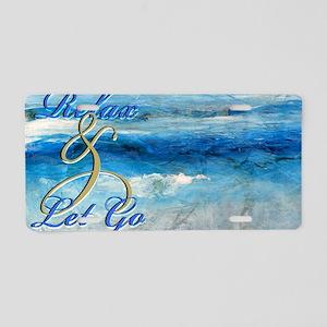 relax ocean Aluminum License Plate