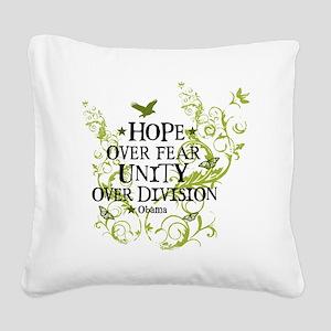 obama_vine_hope_division_whit Square Canvas Pillow