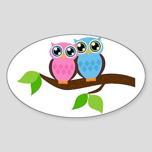Owl Couple Sticker (Oval)